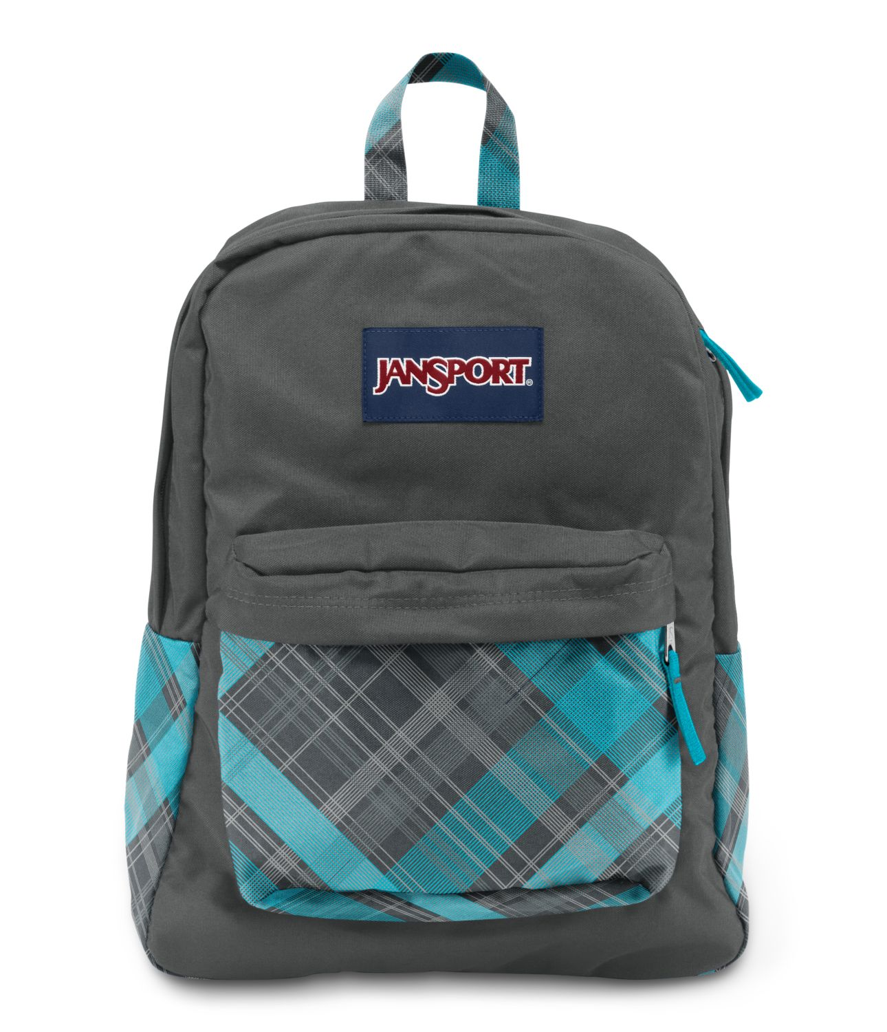 JanSport SuperBreak School Backpack - Mammoth Blue Sideways Plaid