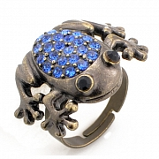 Adjustable Vintage Style Sapphire Frog Austrian Crystal Blue Animal Ring