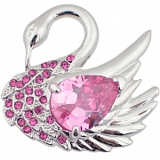 Rose Pink Swan Austrian Crystal Bird Pin Brooch
