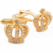 Crystal Royal Crown Golden Cufflinks