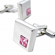 Silver and Pink Rose Crystal Square Cufflinks
