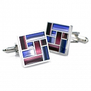 Purple Enamel Patchwork Square Cufflinks