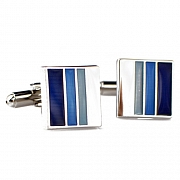 Blue Black and White Stripe Square Cufflinks