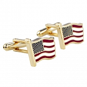Patriotic Star and Stripes US American Flag  Red/White/Blue Enamel Cufflinks
