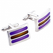 Purple Enamel Bar Cufflinks Cuff links