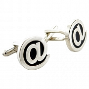 Black and Silver Technology At @ Symbol Web & Internet Cufflinks