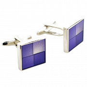 Purple Enamel Square Silver Cufflinks