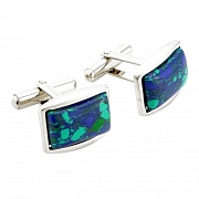 Green and Blue Rectangular Cufflinks