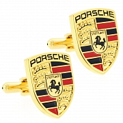 Golden Porsche Logo Automotive Car Cufflinks