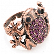 Adjustable Vintage Style Amethyst Frog Austrian Crystal Purple Animal Ring