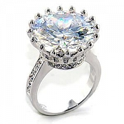 Silver Plated Clear Austrian Crystal Flower Classic CZ Ring