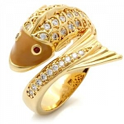 Gold Plated Fish Austrian Crystal CZ Ring