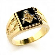 Mens Gold Plated Black Enamel Austrian Crystal Masonic Logo Ring