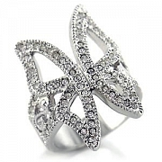 Silver Plated Butterfly Clear Austrian Crystal Classic Insect Ring
