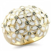 Gold and White Multi Flower Clear Austrian Crystal Ring