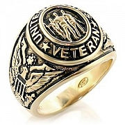"Mens ""United States Veteran"" Gold Plated Engraved Ring"