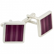 Purple Stripe Cufflinks Square Cuff Links