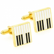 Golden Piano Keyboard Music Cufflinks