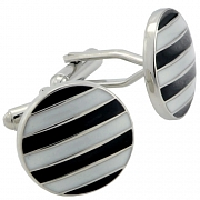 Black and White Stripe Button Cufflinks Round Cuff Links