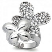 Silver Couple Butterfly Austrian Crystal Ring