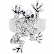 Silver Plated Crystal Frog Adjustable Cocktail Ring