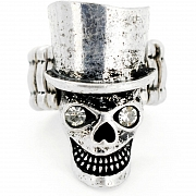Vintage Style Silver Skull WithTop Hat Crystal Stretch Ring