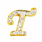 Letter T Tag Pin Austrian Crystal Brooch Pin