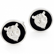 Enamel Bear Cufflinks Black Round Cuff links