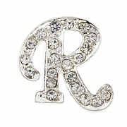 Letter R Tag Pin Austrian Crystal Brooch Pin