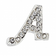 Letter A Tag Pin Austrian Crystal Brooch Pin