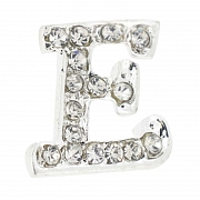 Letter E Tag Pin Austrian Crystal Brooch Pin