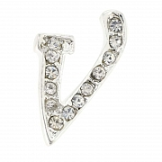 Letter V Tag Pin Austrian Crystal Brooch Pin