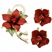Red Poinsettia Swarovski Crystal Flower Pin Brooch And Earrings Gift Set