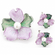 Purple Pearl Flower Pin Brooch And Earrings Gift Set