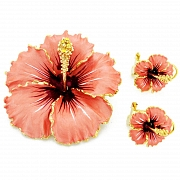 Peach Hawaiian Hibiscus With Swarovski Crystal Flower Pin Brooch And Earrings Gift Set