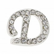 Letter D Tag Pin Austrian Crystal Brooch Pin